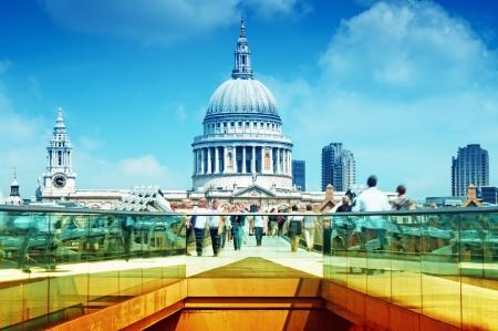 St. Paul`s Cathedral and Millennium Bridge, London. Stock Photo - 10622977