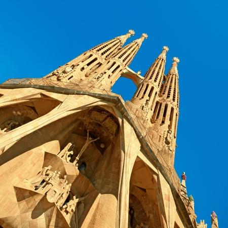 barcelone: Façade de l'église Sangrada Familia.
