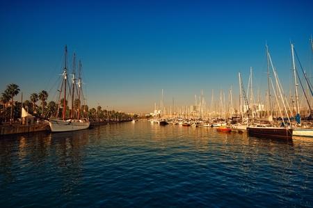 marina water: Port Vell in Barcelona before sunset