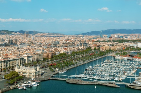 catalonia: Barcelona skyline,( includes: Port Vell, Sangrada Familia and Torre Agbar)