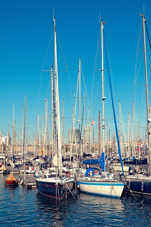 urban scene: Sailboats at Port Vell; Barcelona - Spain;