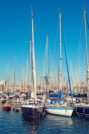 Barcelona: Voiliers à Port Vell, Barcelone - Espagne;