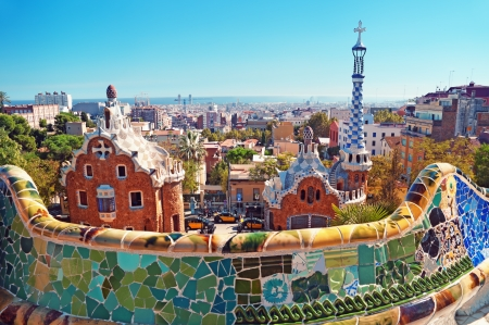 catalonia: Park Guell in Barcelona. Barcelona - Spain.