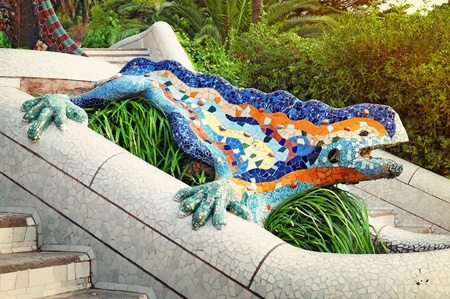 Lizard Fountain at Park Guell in Barcelona - Spain  photo