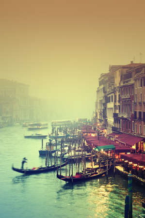 Grand Canal at a foggy evening. photo