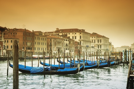 italy culture: Grand Canal and gondolas Stock Photo