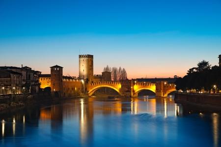 verona: Castelvecchio at night. Verona - Italy