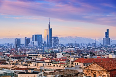 View of Milan`s  business district from Duomo di Milano