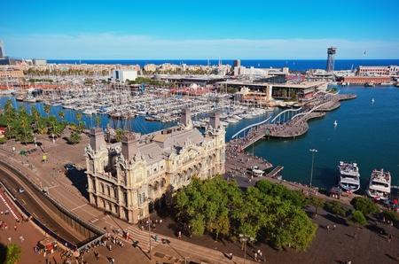 バルセロナの港のアリエル ビュー 写真素材