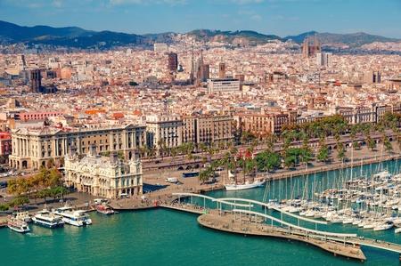 Barcelona skyline, Sagrada Familia is visible. Stock Photo
