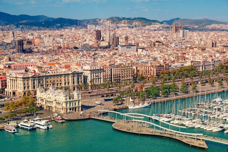 marina life: Barcelona skyline, Sagrada Familia is visible. Stock Photo