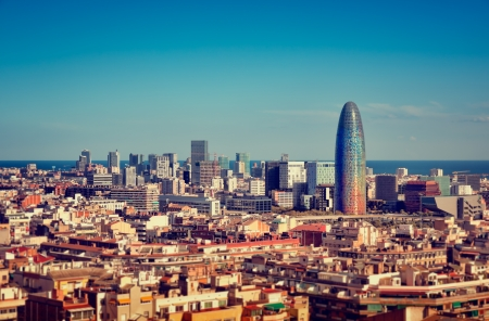 Barcelona`s skyline with skyscrapers.