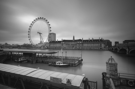 London, England - December 25th, 2010.Gloomy, Black and White image of the Shouth Bank of River Thames.