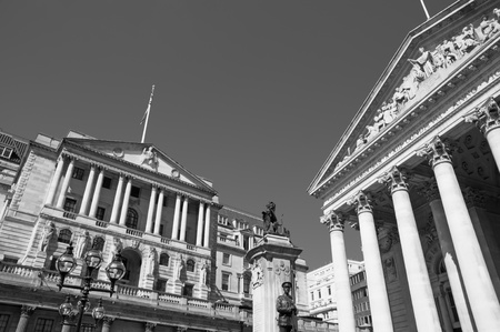 Black and White image of Bank of England and Royal Exchange.