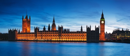 Night view of Houses of Parliament.  Stock Photo
