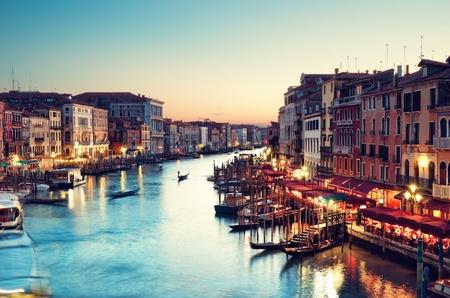 イタリア ヴェネツィア - 日没後大運河 写真素材