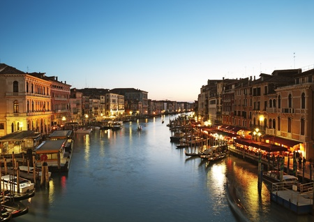 Grand Canal after sunset,  Venice - Italy photo