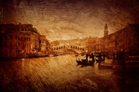 Gloomy textured image of Grand Canal and Rialto Bridge in Venice  photo