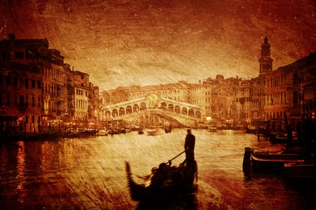Gloomy textured image of Grand Canal and Rialto Bridge in Venice. Stock Photo - 13252061