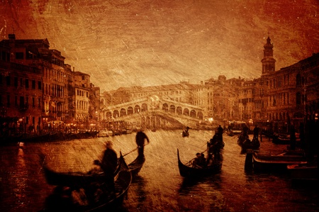 Gloomy textured image of Grand Canal and Rialto Bridge in Venice. photo