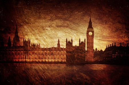 gloom: Gloomy textured image of Houses of Parliament in London