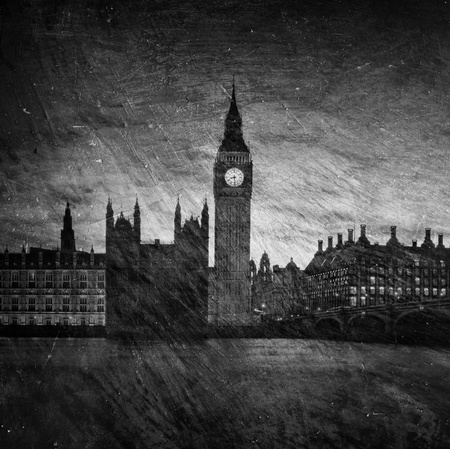 tower of london: Gloomy textured image of Houses of Parliament in London