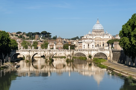 sant: St. Peters Basilica, Ponte Sant Angelo and Tiber River in Rome - Italy.