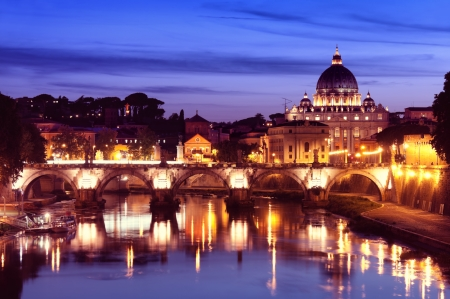 Night image of St  Peter Basilica, Rome - Italy