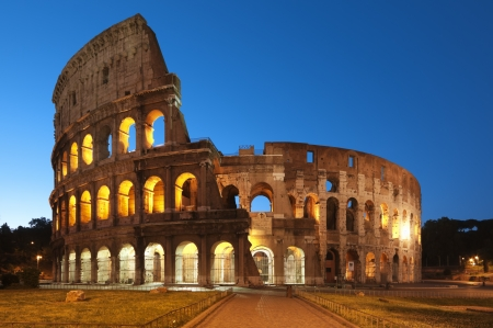 rome italy: Night image of Coliseum in Rome - Italy