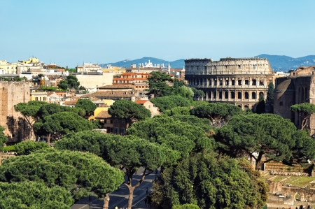 Ariel view of The Colosseum in  Rome