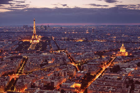 Paris, France - Jun 22, 2012 Night view of Paris with Eiffel Tower and St  Pierre de Montmartre