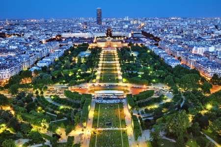 Night view of Paris from the Eiffel Tower. Редакционное