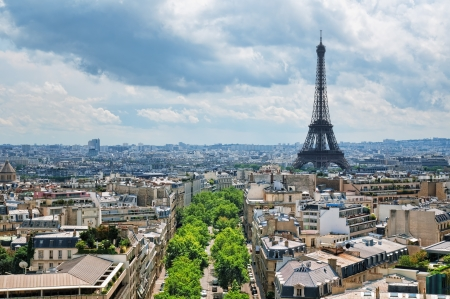 View of Eiffel Tower from the Arch of Triumph. Stock Photo