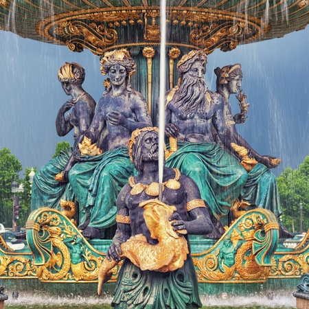 saturated color: Fountain at Place de la Concorde  Editorial