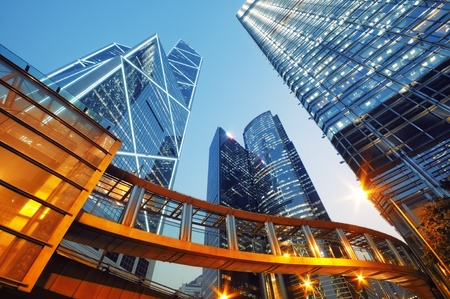 futuristic city: Modern office buildings in Central Hong Kong