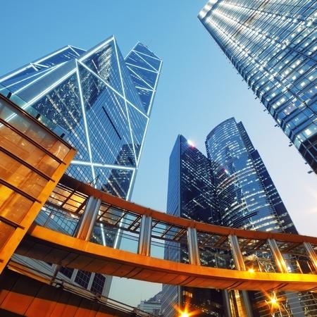 central: Edificios de oficinas modernos en el centro de Hong Kong