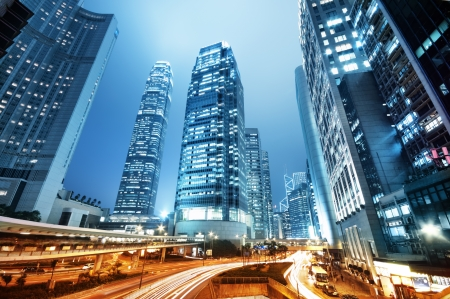 The central business district of Hong Kong with the IFC tower.