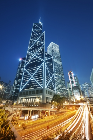 The central business district of Hong Kong with the Bank of China building  photo