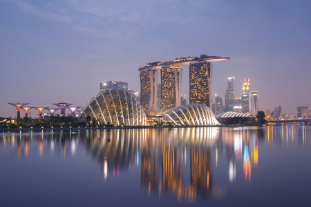Night view of Singapore skyline, including Gardens by the Bay, Supertree Grove, Cloud Forest, Flower Dome, Marina Bay Sands and the  Art Science Museum  Редакционное