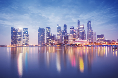 merlion: Singapore s business district at night