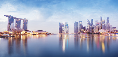Panoramic image of Singapore s skyline at night