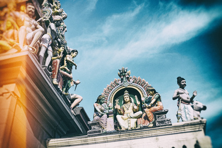 mariamman: Details of Sri Mariamman Hindu Temple in Singapore   Vintage style, grain added in the post process