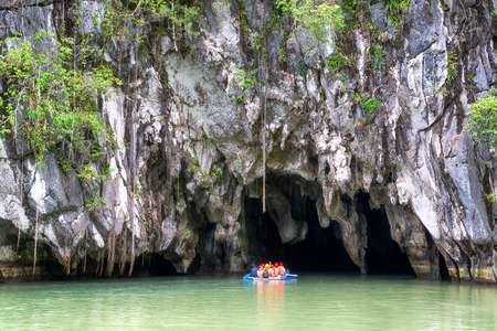 Visitors enter the Subterranean River in Puerto Princessa  Puerto Princesa Underground River as one of the New 7 Wonders of Nature