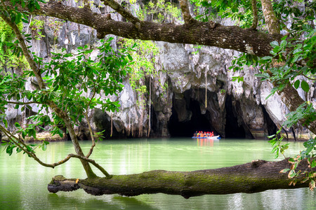 palawan: Visitors enter the Subterranean River in Puerto Princessa  Puerto Princesa Underground River as one of the New 7 Wonders of Nature   Stock Photo