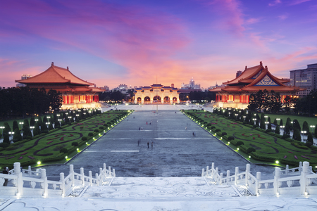chinese wall: Libery Square with Chiang Kai-shek Memorial, National Theater and National Concert Hall   Taipei, Taiwan   Editorial