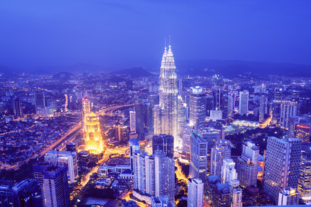 Kuala Lumpur skyline with the Petronas Towers and other skyscrapers
