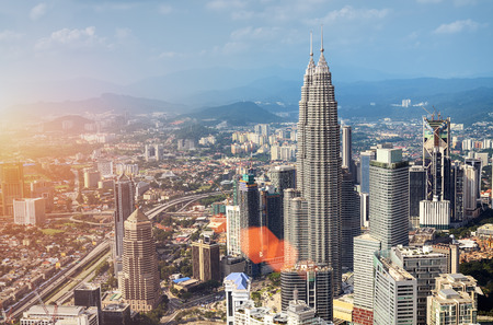 klcc: Kuala Lumpur skyline with the Petronas Towers and other skyscrapers