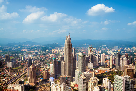 malaysia city: Kuala Lumpur skyline with the Petronas Towers and other skyscrapers