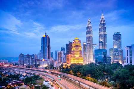 malaysia culture: Night view of Kuala Lumpur skyline   Stock Photo