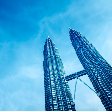 blue toned: Blue toned image of Petronas Towers